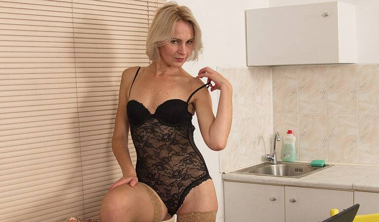 Horny blonde housewife loves a big cock